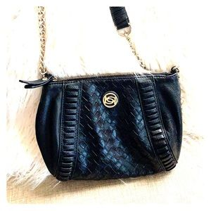 bebe black braided leather crossbody